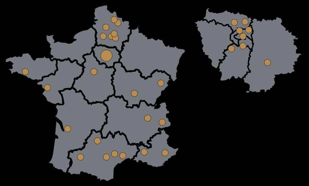 Cartes de France et Ile de France, montrant l'emplacement des agences du groupe CF et du Consortium